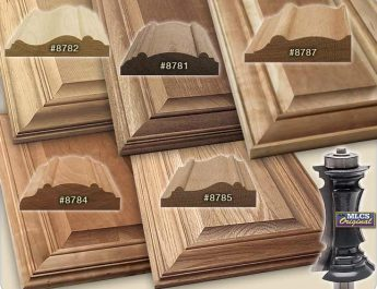 Profiles of the MLCS Mitered Door Frame router bits.