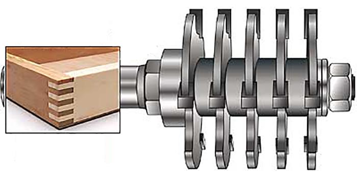 An example of a box joint and MLCS's Box Joint Router Bit.